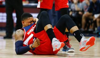 "Wizards guard Bradley Beal labeled the sprained right ankle the ""worst"" he's had. Treatment began after the game and he will be re-evaluated Monday. (Associated Press)"