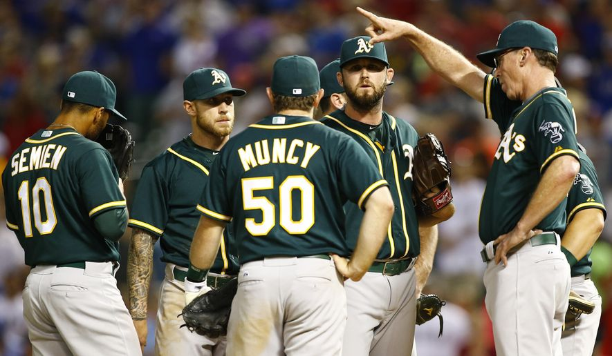 Oakland Athletics manager Bob Melvin signals to the bullpen as pitcher Ryan Cook, 2nd right, is removed from the lineup against the Texas Rangers in the tenth inning of a baseball game Saturday, May 2, 2015, in Arlington, Texas. (AP Photo/Mike Stone)