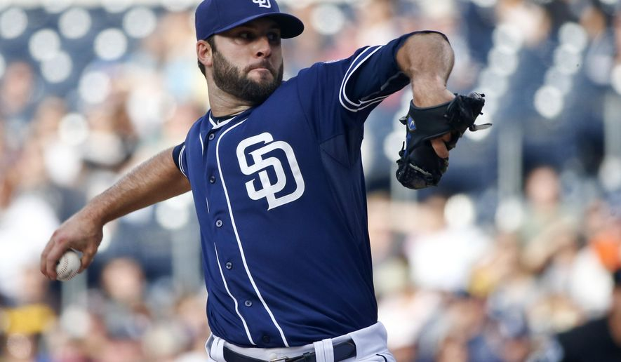 San Diego Padres starting pitcher Brandon Morrow throws against the Colorado Rockies in the first inning of a baseball game Saturday May2, 2015 in San Diego. (AP Photo/(Lenny Ignelzi)