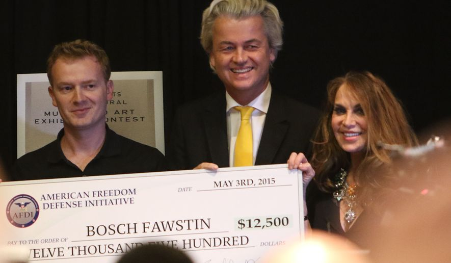Artist Bosh Fawstin, left, is presented with a check for 12,500 by Dutch politician Geert Wilders, center, and Pamela Geller, right, during the American Freedom Defense Initiative program at the Curtis Culwell Center on Sunday, May 3, 2015, in Garland, Texas. (Gregory Castillo/The Dallas Morning News via AP)
