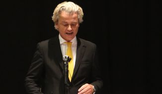 Geert Wilders is an ally of anti-Shariah organization American Freedom Defense Initiative, which sponsored the event that came under attack from two gunmen and a possible car bomb Sunday. (Associated Press)