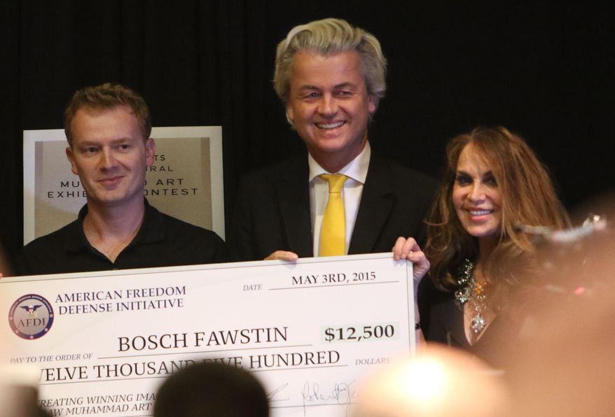 Artist Bosch Fawstin, left, is presented with a check for 12,500 by Dutch politician Geert Wilders, center, and Pamela Geller, right, during the American Freedom Defense Initiative program at the Curtis Culwell Center on Sunday, May 3, 2015, in Garland, Texas. (Gregory Castillo/The Dallas Morning News via AP) ** FILE **
