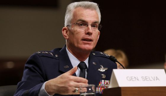 Air Force Gen. Paul Selva testifies on Capitol Hill in Washington on March 11, 2014, before the Senate Armed Services Committee hearing to consider the nomination of Selva for reappointment to the grade of general and to be Commander, United States Transportation Command. Officials on May 4, 2015, said President Barack Obama is tapping Selva to serve as vice chairman of the Joint Chiefs of Staff. (Associated Press) **FILE**