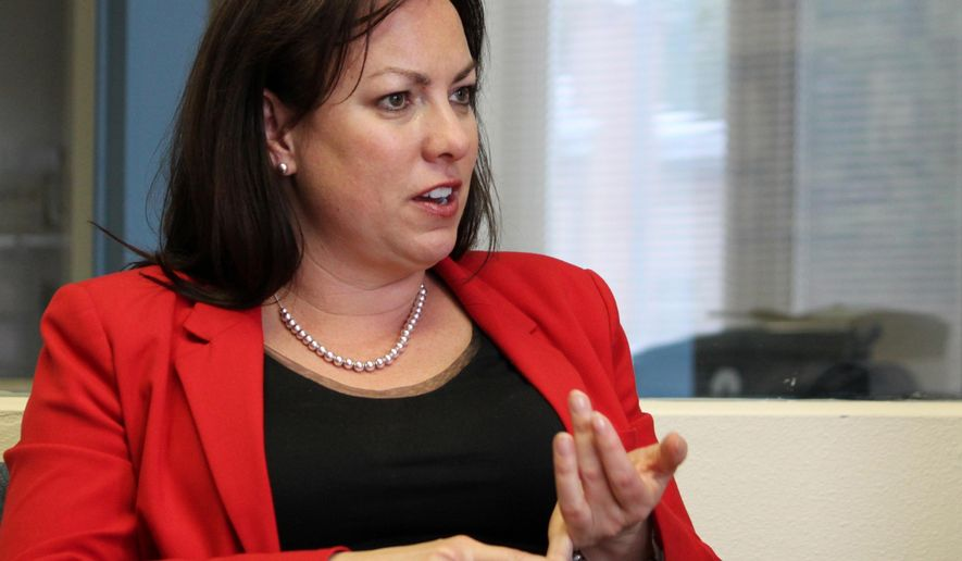 New Mexico Public Education Secretary Hanna Skandera discusses the results of teacher evaluations during an interview in Albuquerque N.M., on Monday, May 4, 2015. (AP Photo/Susan Montoya Bryan)