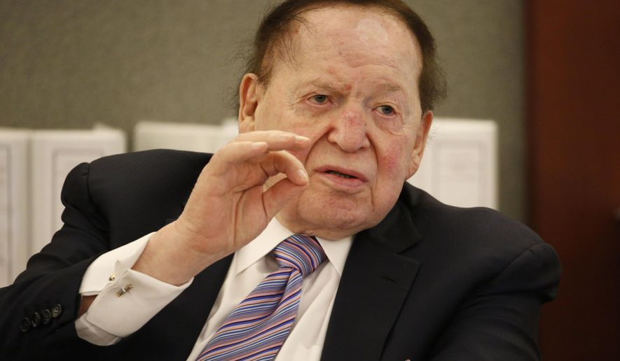 Las Vegas Sands Corp. Chairman and CEO Sheldon Adelson testifies in court Monday, May 4, 2015, in Las Vegas. Steven Jacobs, former Sands Macau resort chief, is suing Sands China and Las Vegas Sands Corp. over a wrongful termination case. (AP Photo/John Locher)