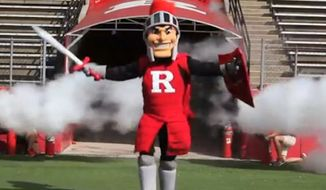 """The Rutgers University Student Assembly has passed a bill that seeks to diversify the school's Caucasian """"Scarlet Knight"""" mascot by adding black, Latino and third-gender mascot friends. (NJ.com screenshot)"""