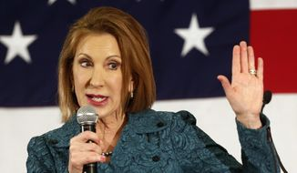 Carly Fiorina speaks at the Republican Leadership Summit in Nashua, N.H., in this April 18, 2015, file photo. The former technology executive formally entered the 2016 presidential race on Monday.  (AP Photo/Jim Cole)