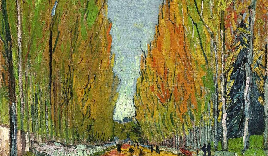 """CORRECTS NAME OF PAINTING TO """"THE ALLEE OF ALYSCAMPS, INSTEAD OF THE ALLEE OF ALYSCAMPSIS - This undated photo provided by Sotheby's shows the Vincent van Gogh painting, """"The Allee of Alyscamps"""" that the auction house predicts will fetch more than $40 million when it is auctioned in New York on Tuesday, May 5, 2015. It depicts a lush autumnal scene that the artist created in 1888 while working side-by-side for two months with his friend Paul Gauguin in Arles, in the south of France. (Sotheby's via AP)"""
