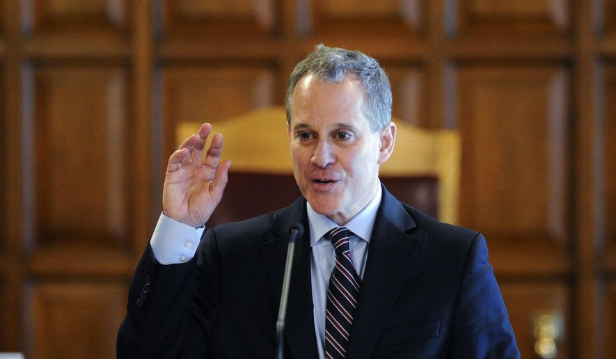 New York State Attorney Eric Schneiderman speaks May 5, 2015, during a Law Day event at the Court of Appeals in Albany. (Associated Press) ** FILE **
