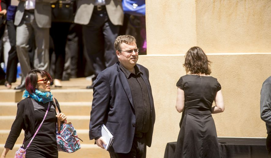 Reid Hoffman, LinkedIn executive chairman and co-founder, leaves a memorial service for SurveyMonkey CEO David Goldberg, Tuesday, May 5, 2015, in Stanford, Calif. (AP Photo/Noah Berger) ** FILE **
