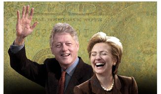 Illustration on the corruption of the Clintons by Alexander Hunter/The Washington Times