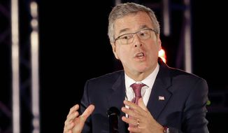 Asked by a religious broadcaster about two campaign aides who support same-sex marriage, Jeb Bush said he doesn't ask questions about their sexuality. (Associated Press)