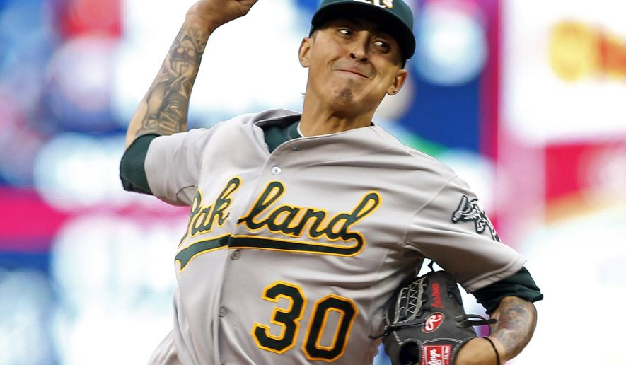 Oakland Athletics pitcher Jesse Chavez throws against the Minnesota Twins in the first inning of a baseball game, Tuesday, May 5, 2015, in Minneapolis. (AP Photo/Jim Mone)