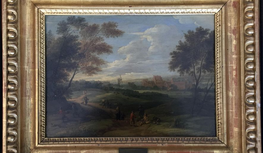 """This image provided by the Monuments Men Foundation shows a Franz de Paula Ferg oil on panel painting titled """"Landscape with Staffage."""" The painting, one of five missing since World War II, are being returned to collections in Germany at the behest of the heirs of their American acquirers. The painting was won by an American GI in a poker game and had been stored in a potassium mine for safekeeping during the war are from an art gallery in the central German city of Dessau. The GI then mailed the painting home to his wife. (Anna Bottinelli/Monuments Men Foundation via AP)"""