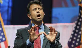 """FILE - In this Saturday, April 25, 2015, file photo, Louisiana Gov. Bobby Jindal speaks at the Iowa Faith & Freedom 15th Annual Spring Kick Off, in Waukee, Iowa. Threshold Editions announced Tuesday, May 5, 2015, that Jindal has a book deal with the publisher for """"American Will: The Forgotten Choices That Changed Our Republic."""" The book is due out in October 2015. (AP Photo/Nati Harnik, File)"""