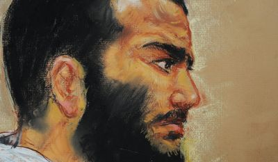 A courtroom drawing shows Canadian-born accused terrorist Omar Khadr attending a pre-trial session in Camp Justice on the U.S. Naval Base in Guantanamo Bay, Cuba, Dec. 12, 2008. (Associated Press) ** FILE **