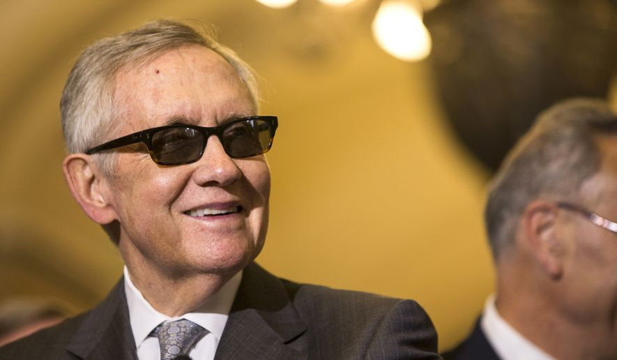 Senate Minority Leader Harry Reid of Nevada speaks during a news conference on Capitol Hill in Washington, Tuesday, May 5, 2015, following a policy luncheon. (AP Photo/Brett Carlsen) ** FILE **