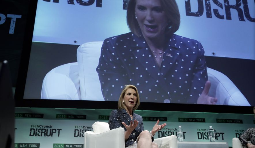 Repubican presidential candidate Carly Fiorina, the former Hewlett-Packard chief executive, speaks at TechCrunch Disrupt NY, in New York, Tuesday, May 5, 2015. Fiorina and Hillary Rodham Clinton are bidding to become the first female U.S. president. (AP Photo/Richard Drew)