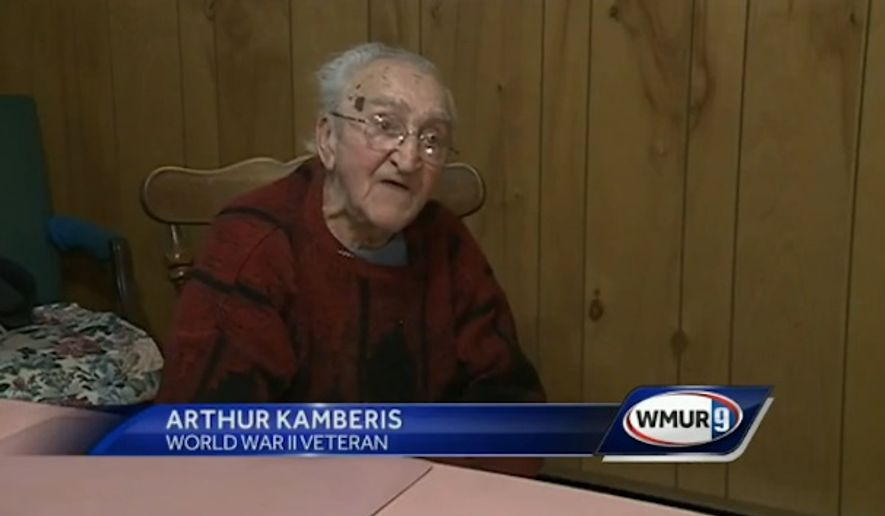 Arthur Kamberis, a 95-year-old World War II veteran, used his cane to fight off a would-be robber in Manchester, New Hampshire, over the weekend, police said. (WMUR 9)