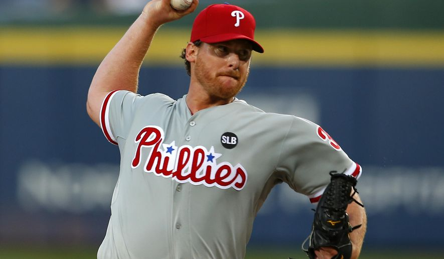 Philadelphia Phillies starting pitcher Chad Billingsley (38) delivers in the fourth inning of a baseball game against the Atlanta Braves, Tuesday, May 5, 2015, in Atlanta. (AP Photo/Todd Kirkland)