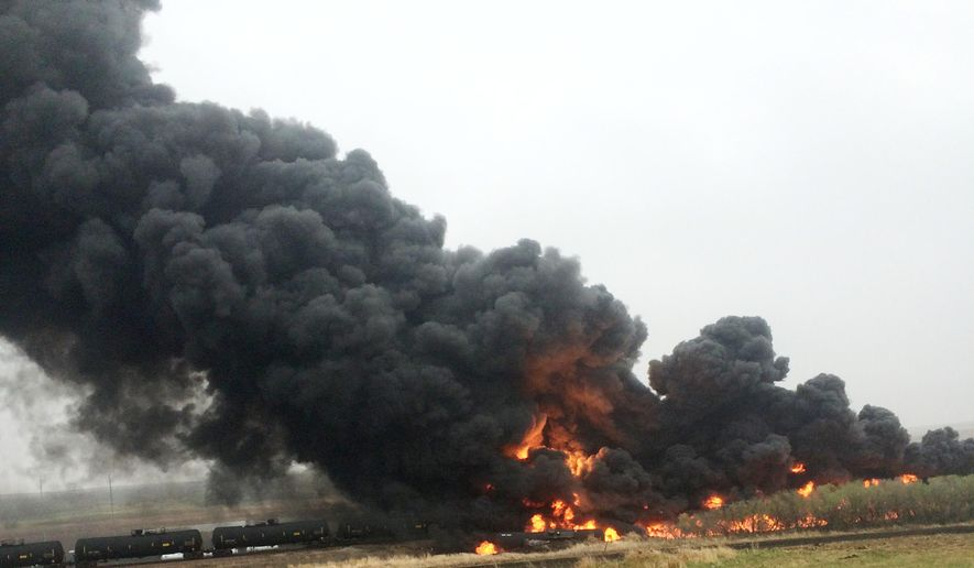 CORRECTS NAME OF SOURCE TO CURT BENSON INSTEAD OF CURT BEMSON - This photo provided by Curt Benson shows smoke and fire coming from an oil train that derailed, Wednesday, May 6, 2015, in Heimdal, N.D. Officials say 10 tanker cars on the BNSF caught fire prompting the evacuation of Heimdal where about three dozen people live. No injuries were reported. (Curt Benson via AP)