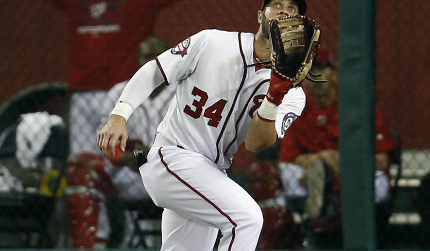 Washington Nationals right fielder Bryce Harper (34) catches a fly ball hit by Miami Marlins' Adeiny Hechavarria during the sixth inning of a baseball game at Nationals Park, Tuesday, May 5, 2015, in Washington. (AP Photo/Alex Brandon)
