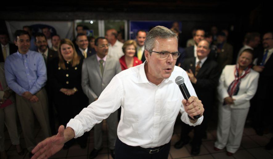 In this photo taken April 28, 2015, Jeb Bush speaks during a town hall meeting with Puerto Rico's Republican Party in Bayamon, Puerto Rico. Hillary Rodham Clinton's challenge to the GOP on immigration is an early counter to Jeb Bush and other Republican White House contenders seeking Hispanic voters. Among them are GOP lawmakers who once opposed an immigration overhaul in Congress but now say they may be willing to allow millions living in the country illegally to stay. (AP Photo/Ricardo Arduengo)