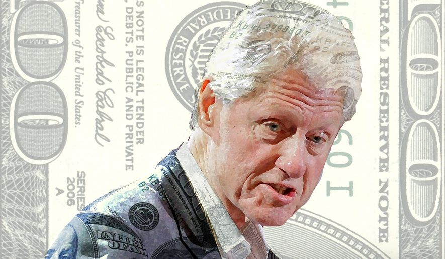 Illustration on Bill Clinton's duplicity over his foundation's funding by Alexander Hunter/The Washington Times