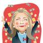 "Illustration on Hillary's ""Nixon"" moment by Linas Garsys/The Washington Times"