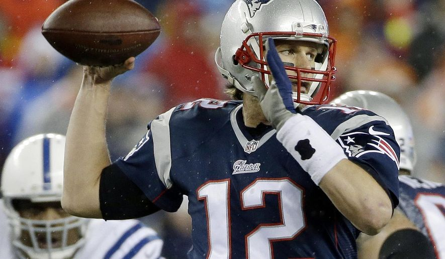 """FILE - In this Jan. 18, 2015, file photo, New England Patriots quarterback Tom Brady looks to pass during the first half of the NFL football AFC Championship game against the Indianapolis Colts  in Foxborough, Mass. An NFL investigation has found that New England Patriots employees likely deflated footballs and that quarterback Tom Brady was """"at least generally aware"""" of the rules violations. The 243-page report released Wednesday, May 6, 2015, said league investigators found no evidence that coach Bill Belichick and team management knew of the practice. (AP Photo/Matt Slocum, File)"""