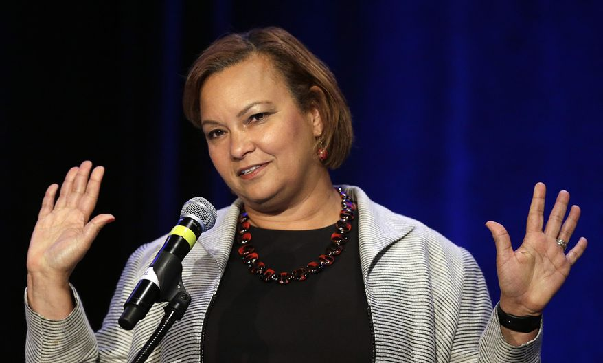 Lisa Jackson, vice president of Environmental Initiatives at Apple Inc., speaks at the PUSHTech2020 Summit Wednesday, May 6, 2015, in San Francisco. (AP Photo/Ben Margot) ** FILE **