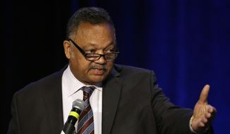Rev. Jesse Jackson speaks at the PUSHTech2020 Summit Wednesday, May 6, 2015, in San Francisco. (AP Photo/Ben Margot) ** FILE **