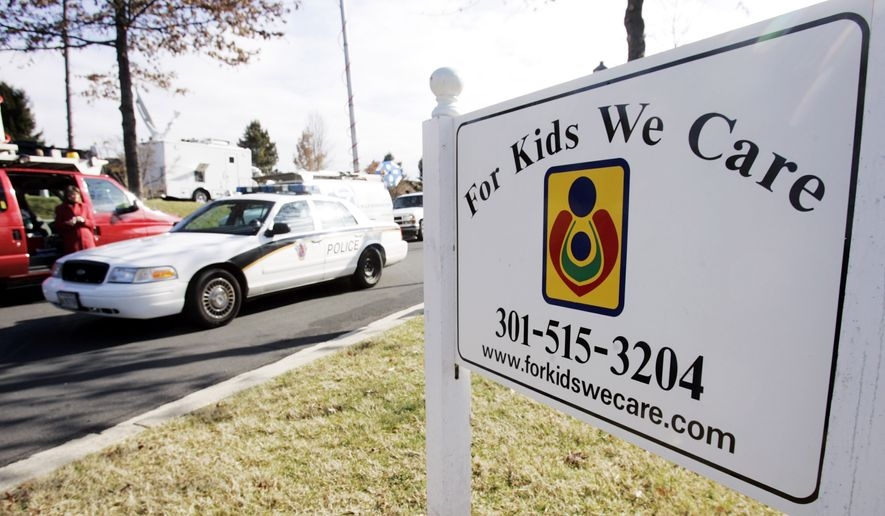 A new study by Everytown For Gun Safety and Moms Demand Action for Gun Sense in America says 79 children have unintentionally shot someone with a handgun during the first four months of 2015. The shootings have resulted in 24 deaths. In this photo, a Montgomery County Police vehicle drives past a sign of the For Kids We Care day care center, Tuesday, Jan. 24, 2006 in Germantown, Maryland, where a 7-year-girl was shot in the arm by a gun that was brought to the day care center by an 8-year-old boy. The boy had the gun in the backpack and was playing with it when it accidentally went off at the For Kids We Care center, police spokesman Derek Baliles said. (AP Photo/Manuel Balce Ceneta)