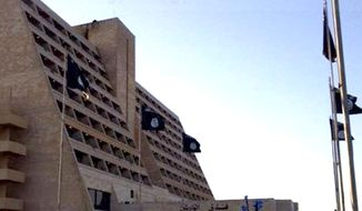 The Ninawa Hotel in Mosul, Iraq has opened under new management: the Islamic State group. (Image: CNN Arabic screenshot)