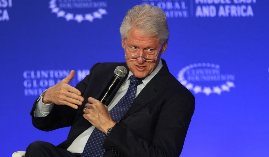 Former U.S President Bill Clinton speaks during a plenary session at the Clinton Global Initiative Middle East & Africa meeting in Marrakech, Morocco, Wednesday May 6, 2015. Bill Clinton has largely stayed on the sidelines during the early weeks of his wife's presidential bid, opting to focus on his foundation work instead of visiting early primary states with his wife. (AP Photo/Abdeljalil Bounhar)