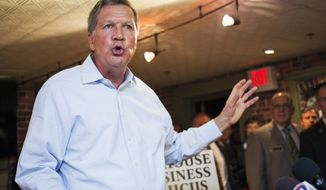Ohio Gov. John Kasich, R-Ohio, speaks during an event hosted by the New Hampshire Business Caucus and Greater Concord Chamber of Commerce at The Barley House in Concord, N.H., Wednesday, May 6, 2015. (Elizabeth Frantz/The Concord Monitor via AP) **FILE**