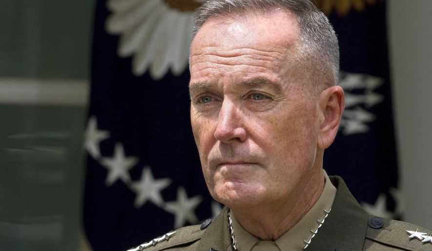 Marine Gen. Joseph Dunford, Jr., listens  in the Rose Garden of the White House in Washington, Tuesday, May 5, 2015, as President Barack Obama announces he will nominate Dunford as the next chairman of the Joint Chiefs of Staff. Obama chose the widely respected, combat-hardened commander who led the Afghanistan war coalition during a key transitional period during 2013-2014 to succeed Army Gen. Martin Dempsey. (AP Photo/Jacquelyn Martin)