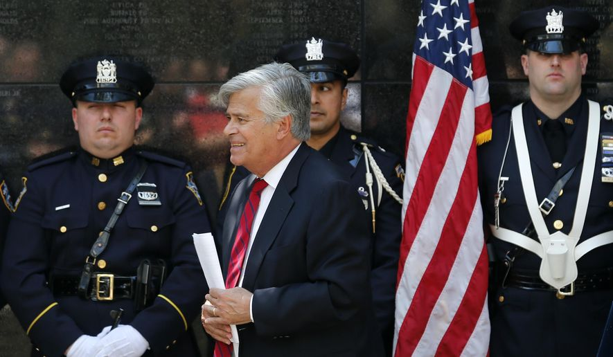 Senate Majority Leader Dean Skelos, R-Rockville Centre, walks from the podium after speaking at a ceremony at the New York State Police Officers Memorial on Tuesday, May 5, 2015, in Albany, N.Y.  Skelos is holding on to power following federal corruption charges even as some fellow Republicans say he should step down as leader to avoid a political distraction. (AP Photo/Mike Groll)