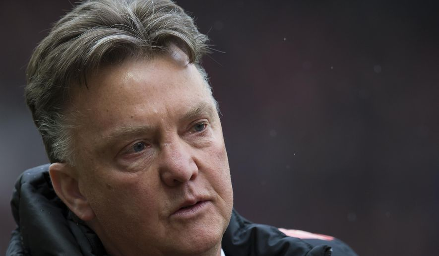 Manchester United's manager Louis van Gaal takes to the touchline before his team's English Premier League soccer match between Manchester United and West Bromwich Albion at Old Trafford Stadium, Manchester, England, Saturday, May 2, 2015. (AP Photo/Jon Super)