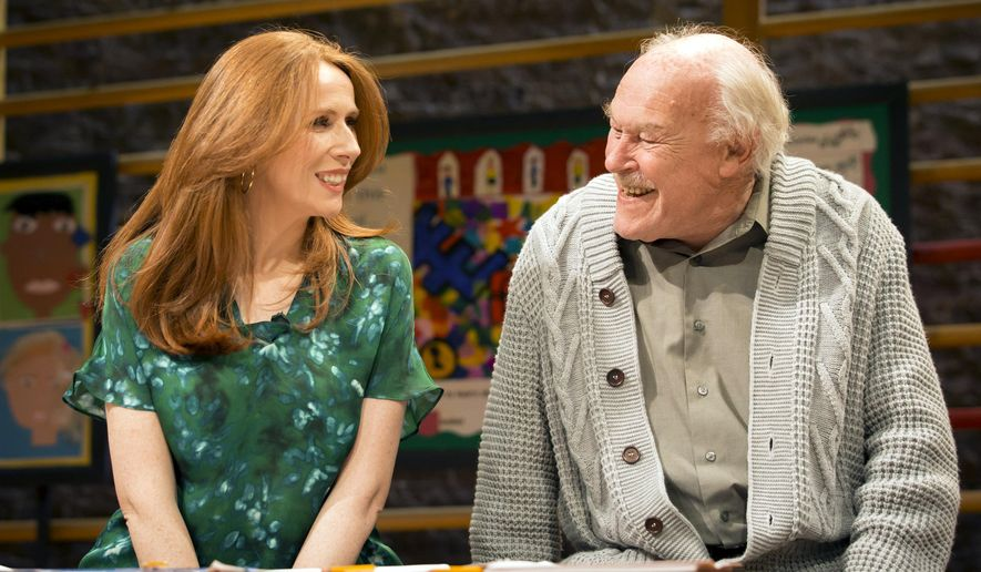 "British actors Catherine Tate and Timothy West take part in a rehearsal for ""The Vote"" at The Donmar Warehouse theatre, London, in April 2015. Playwright James Graham has discovered something funny, absurd and precious in the simple act of voting in a British election. In ""The Vote,"" he has assembled a star-studded cast of almost 40 that includes Judi Dench, Catherine Tate and Mark Gatiss, to play the voters, candidates and returning officers at a London polling station. (Johan Persson/Courtesy of The Donmar Warehouse via AP)"