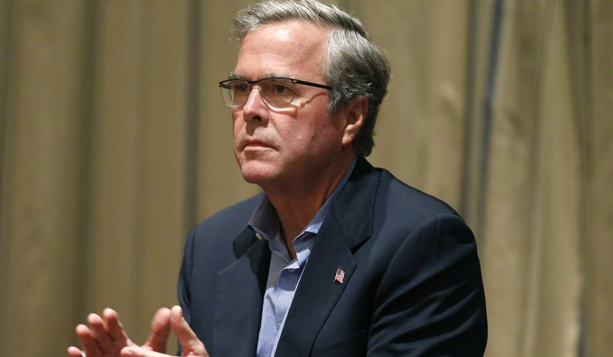 In this April 7, 2015, file photo, former Florida governor and potential Republican presidential candidate Jeb Bush applauds a speaker during an energy forum which he hosted, at the Brown Palace Hotel in Denver. (AP Photo/Brennan Linsley, File)