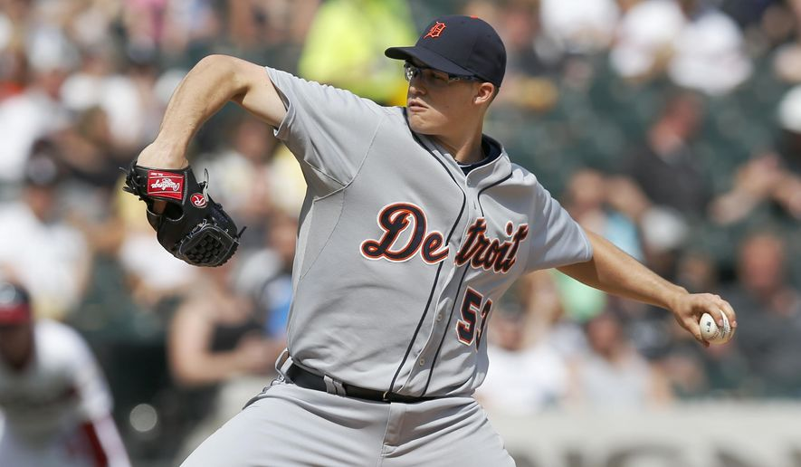 Detroit Tigers starting pitcher Kyle Lobstein delivers during the sixth inning of a baseball game against the Chicago White Sox Thursday, May 7, 2015, in Chicago. (AP Photo/Charles Rex Arbogast)