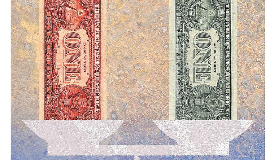 Illustration on a balanced federal budget by Alexander Hunter/The Washington Times