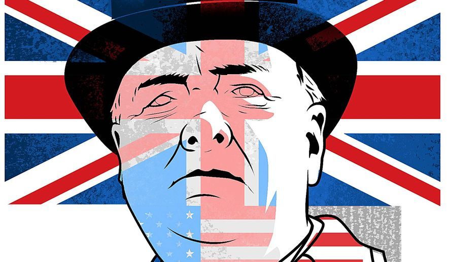 Illustration on the need for a Winston Churchill Day by Linas Garsys/The Washington Times