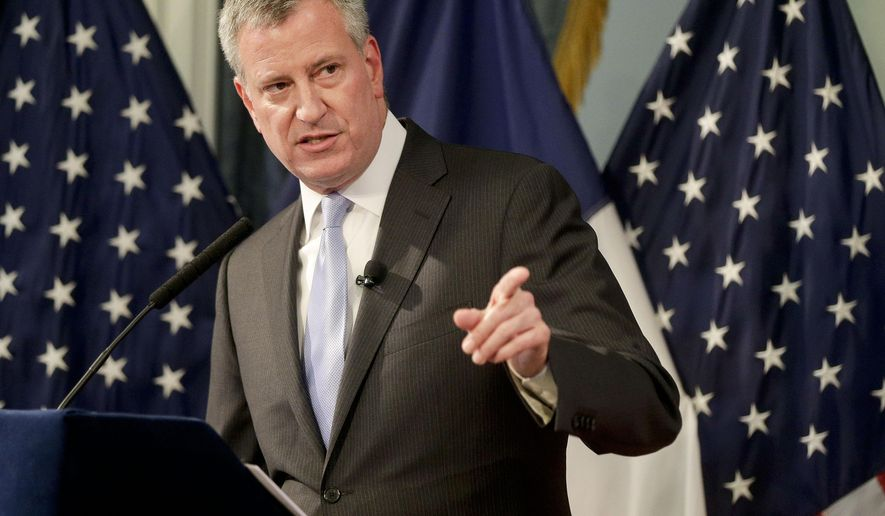 New York City mayor Bill de Blasio speaks during his executive budget presentation, Thursday, May 7, 2015, in New York. During the presentation de Blasio discussed additional funds for road repairs, reforms at Rikers Island and public housing. (AP Photo/Julie Jacobson, Pool)