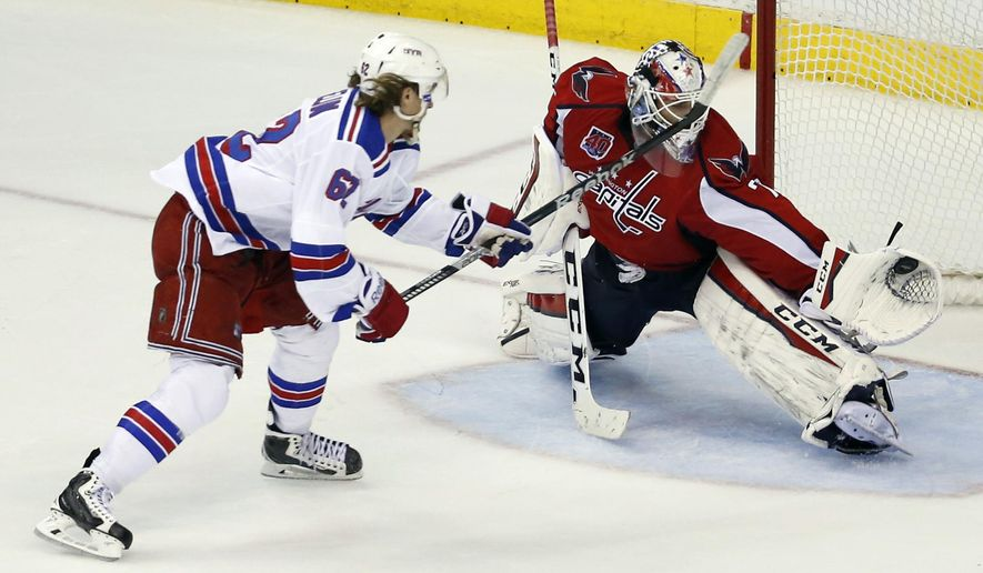 A penalty shot by New York Rangers left wing Carl Hagelin (62), from Sweden, is caught by Washington Capitals goalie Braden Holtby (70) during the third period of Game 4 in the second round of the NHL Stanley Cup hockey playoffs, Wednesday, May 6, 2015, in Washington.  The Capitals won 2-1. (AP Photo/Alex Brandon)