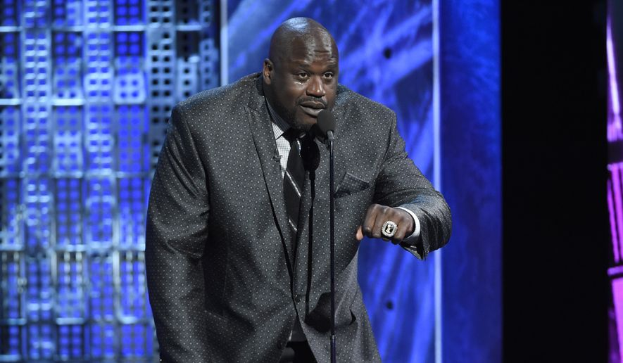 "Shaquille O'Neal speaks at the Comedy Central Roast of Justin Bieber at Sony Pictures Studios on in Culver City, Calif., in this March 14, 2015, file photo. O'Neal took quite a tumble during the ""NBA on TNT"" halftime show of the Clippers-Rockets game on Wednesday night, May 6, 2015. (Photo by Chris Pizzello/Invision/AP, File)"
