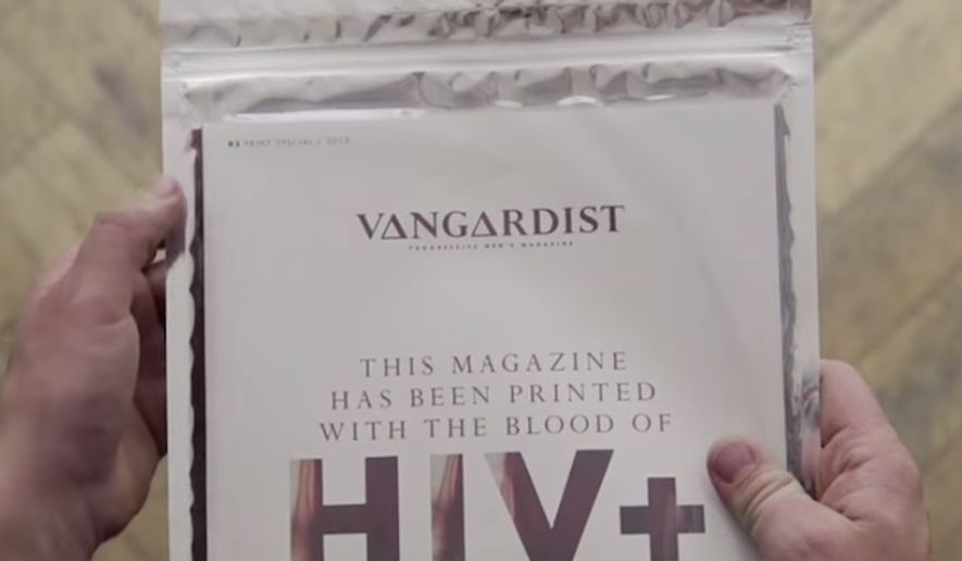 "A progressive men's magazine in Austria has printed 3,000 copies of its latest issue using ink infused with HIV-positive blood in an effort to combat the ""irrational fears"" concerning transmission of the virus, Vangardist's chief editor said Tuesday. (YouTube/Vangardist)"