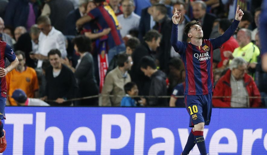 Barcelona's Lionel Messi celebrates after scoring the opening goal during the Champions League semifinal first leg soccer match between Barcelona and Bayern Munich at the Camp Nou stadium in Barcelona, Spain, Wednesday, May 6, 2015.  (AP Photo/Manu Fernandez)