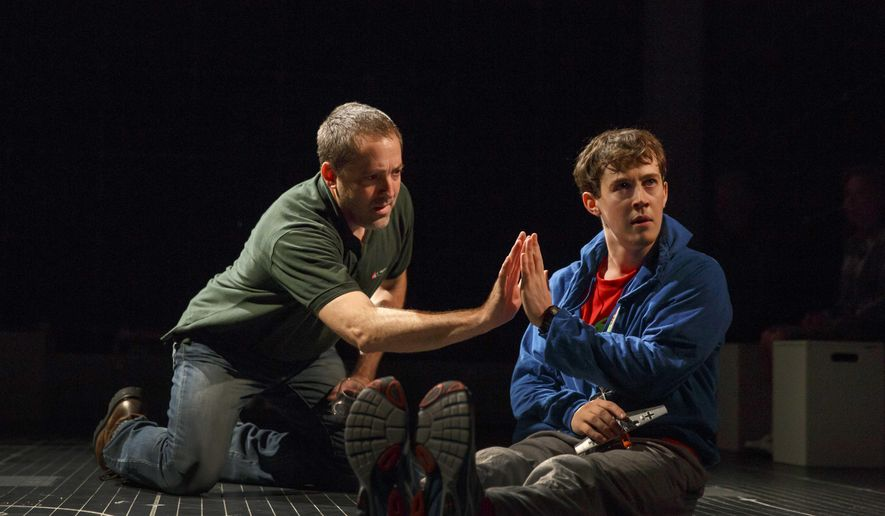 "This image released by Boneau/Bryan-Brown shows Alexander Sharp, left, and Ian Barford in a scene from ""The Curious Incident of the Dog in the Night-Time,"" at the Ethel Barrymore Theatre in New York. (Joan Marcus/Boneau/Bryan-Brown via AP)"